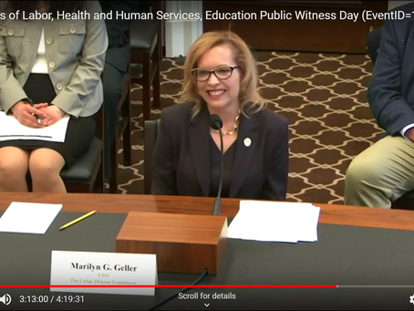 Celebrating the Anniversary of Marilyn Geller's Testimony to the House Appropriations Committee