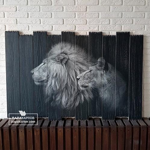 """Картина на досках """"Два льва"""""""