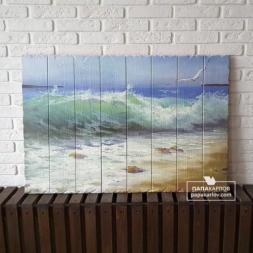 """Картина на досках """"Море и Волны"""""""