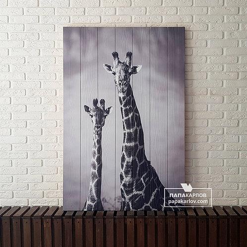 "Картина на досках ""Жирафы 2"""