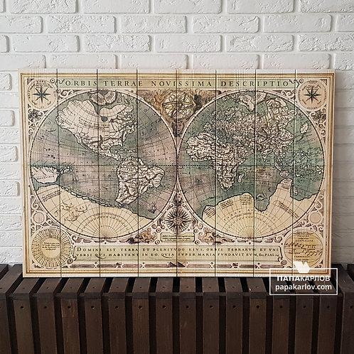 """Картина на досках """"Карта мира 2"""""""