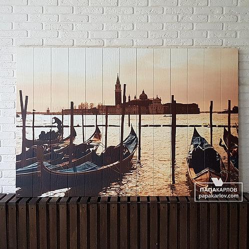 "Картина на досках ""Лодки и пристань"""