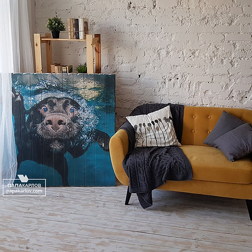 "Картина на досках ""Собака в воде"""