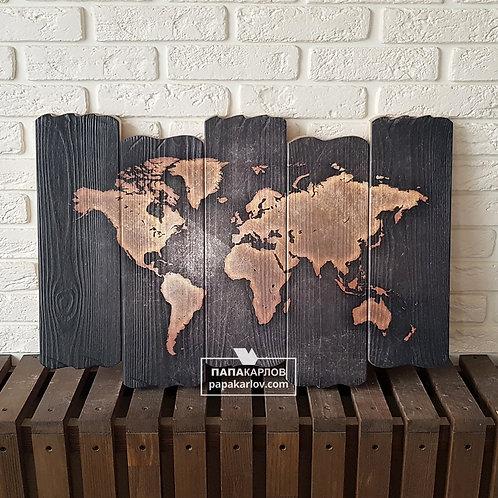 """Картина на досках """"Карта мира 3"""""""