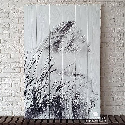 """Картина на досках """"Девушка и Колоски"""""""