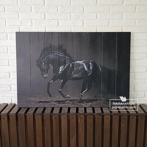 """Картина на досках """"Черная лошадь"""""""