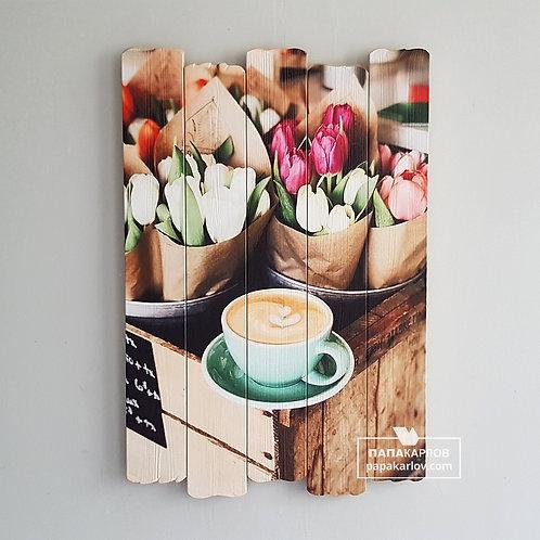 """Картина на досках """"Тюльпаны и кофе"""""""