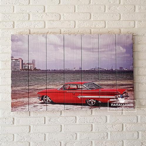 """Картина на досках """"Красный ретро авто"""""""