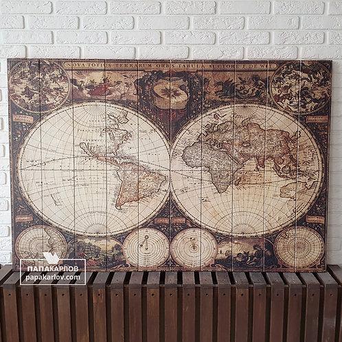 """Картина на досках """"Карта мира 1"""""""