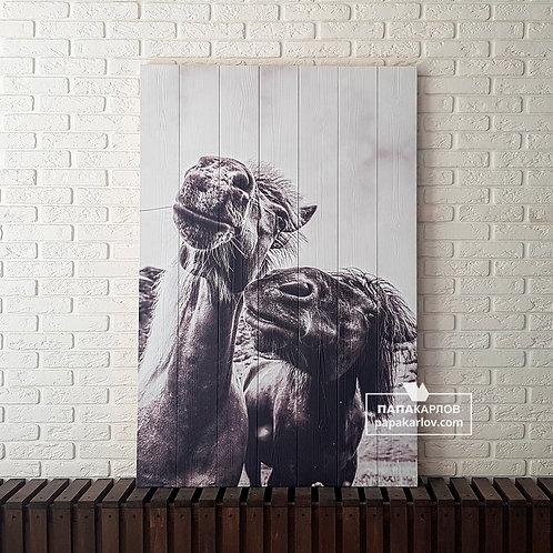 "Картина на досках ""Лошади 1"""