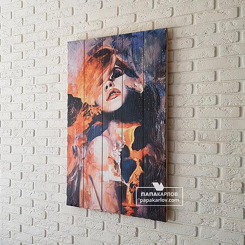 """Картина на досках """"Девушка и вулкан"""""""