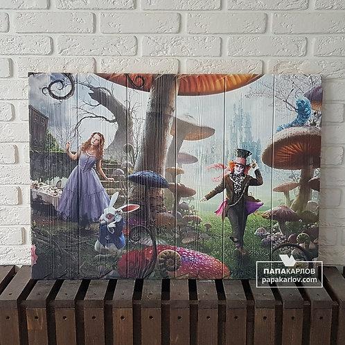 """Картина на досках """"Герои Алисы"""""""