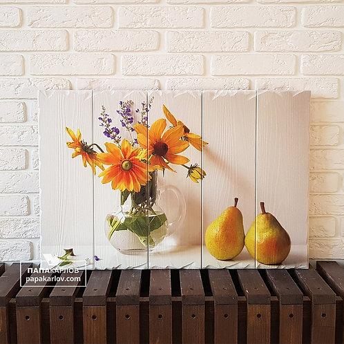 "Картина на досках ""Груши и Цветы"""
