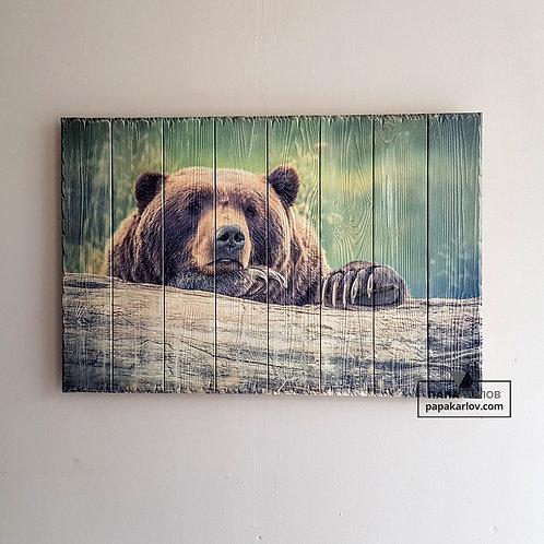 """Картина на досках """"Медведь"""""""