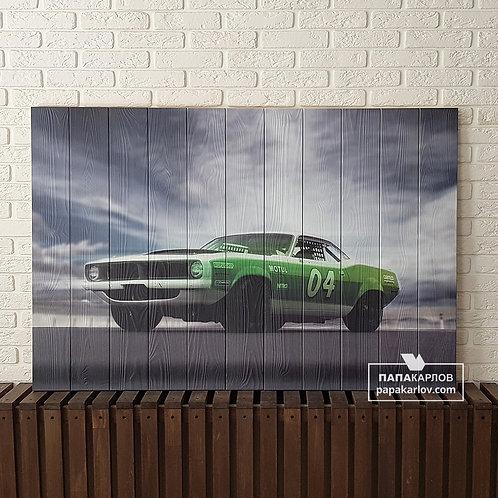 "Картина на досках ""Зеленый Musclecar"""