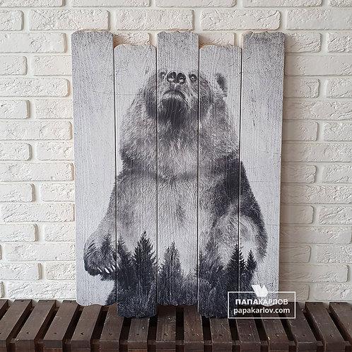 """Картина на досках """"Медведь Экспозиция 1"""""""