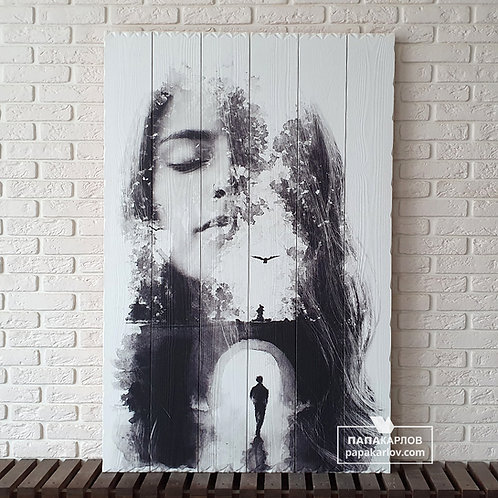 """Картина на досках """"Девушка и Мост"""""""