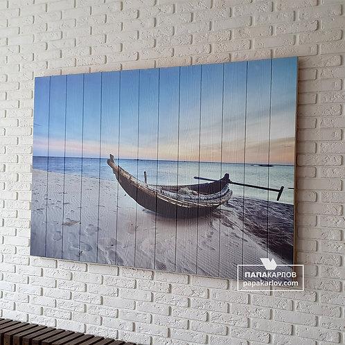 """Картина на досках """"Лодка на песке"""""""