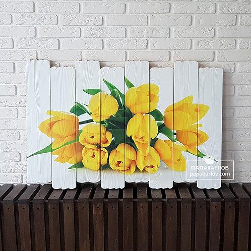 "Картина на досках ""Желтые тюльпаны"""