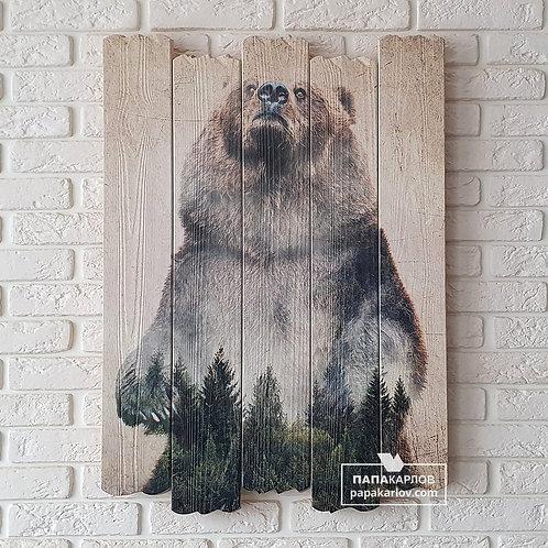"""Картина на досках """"Медведь Экспозиция 2"""""""