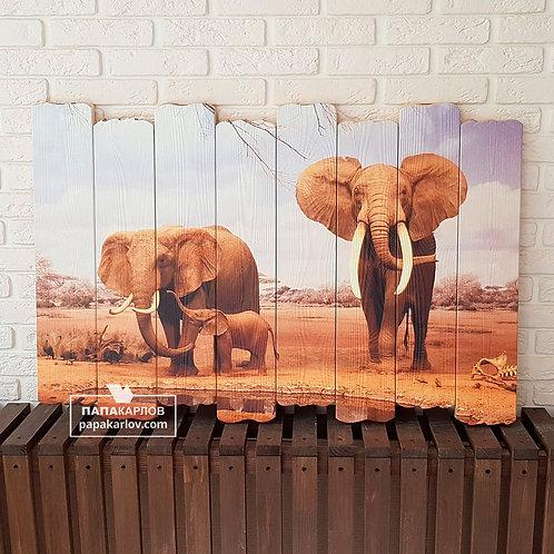 """Картина на досках """"Семья слонов"""""""