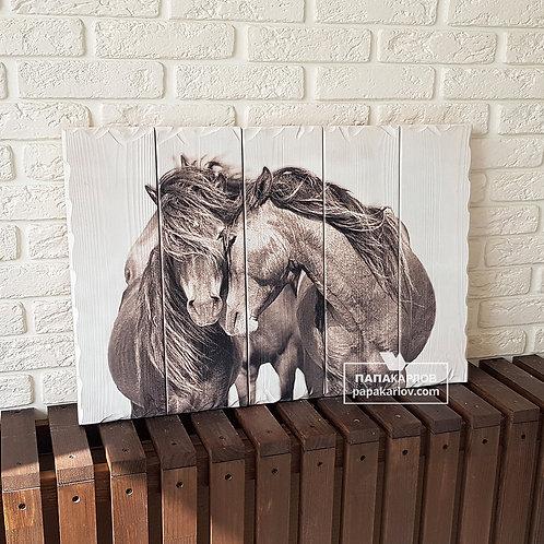 """Картина на досках """"Нежные лошади"""""""