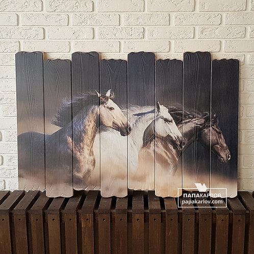 """Картина на досках """"Тройка лошадей"""""""