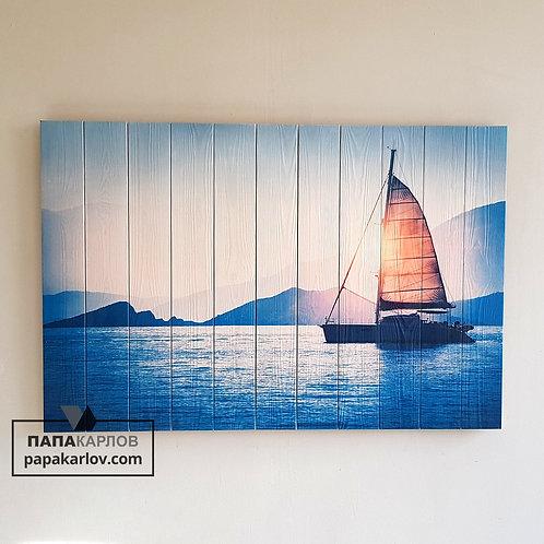 """Картина на досках """"Лодка и Море"""""""
