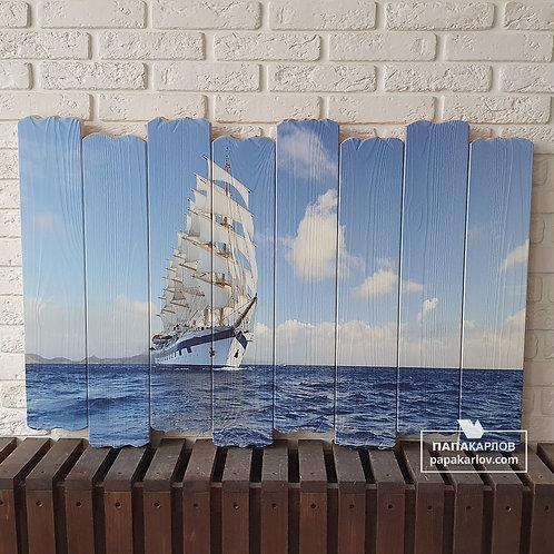 """Картина на досках """"Корабль 1"""""""