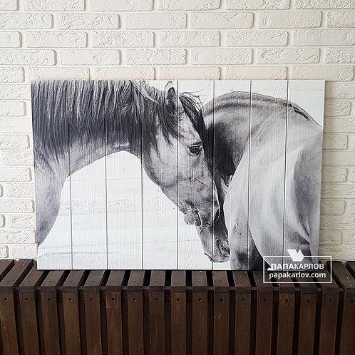 """Картина на досках """"Две лошади 1"""""""