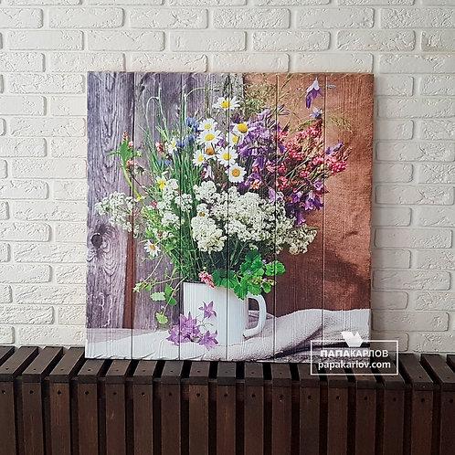 """Картина на досках """"Полевые цветы 1"""""""