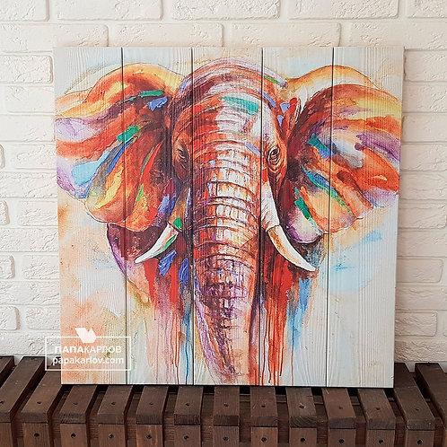 """Картина на досках """"Слон арт"""""""
