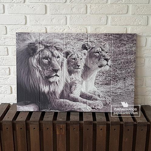 """Картина на досках """"Семья львов"""""""