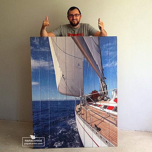"""Картина на досках """"Яхта в море"""""""