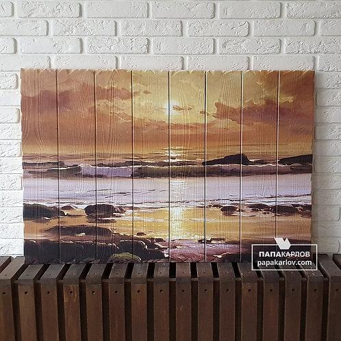 """Картина на досках """"Море и закат"""""""