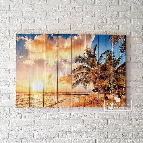 """Картина на досках """"Пляж на закате"""""""