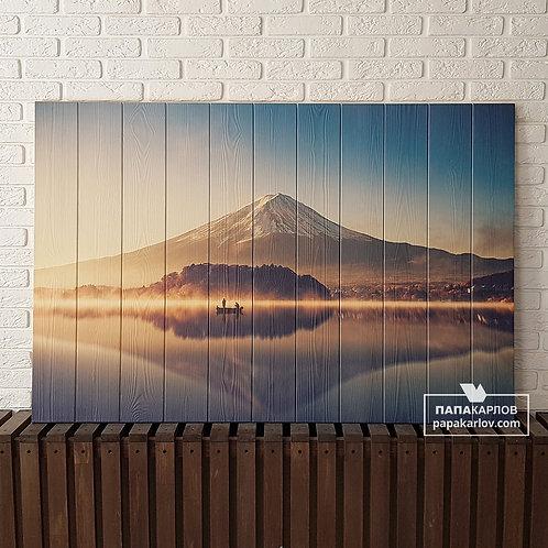"""Картина на досках """"Вулкан Фудзияма"""""""