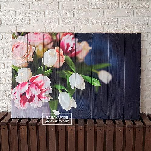 """Картина на досках """"Тюльпаны 1"""""""