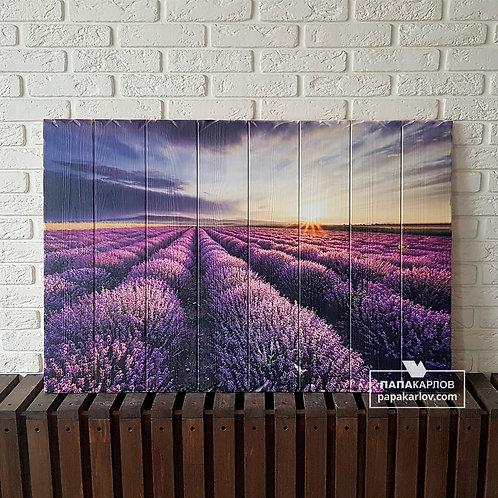 """Картина на досках """"Лавандовое поле 1"""""""