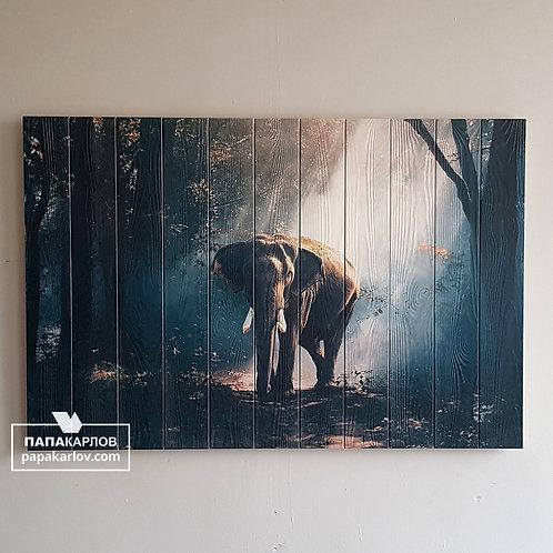 """Картина на досках """"Слон 2"""""""