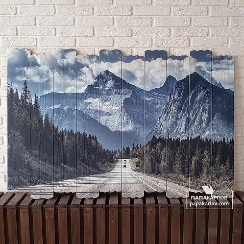 """Картина на досках """"Дорога и горы"""""""