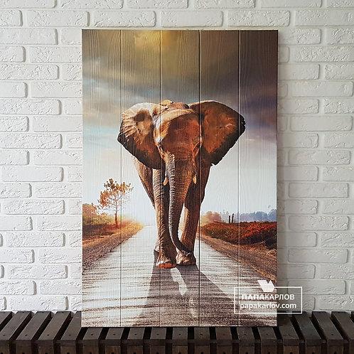 """Картина на досках """"Слон 1"""""""