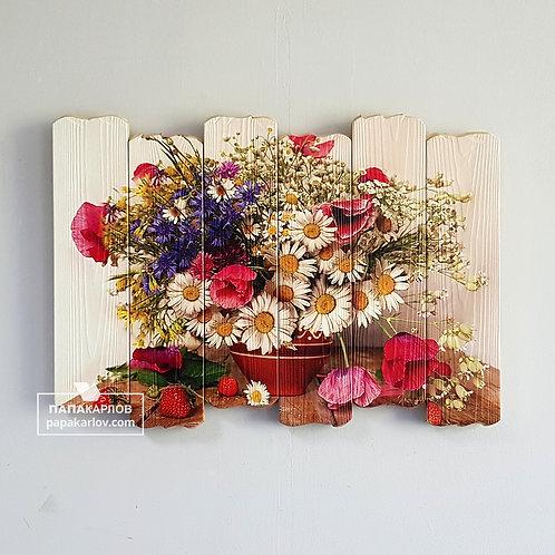 """Картина на досках """"Полевые цветы 2"""""""