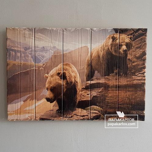 """Картина на досках """"Два медведя"""""""