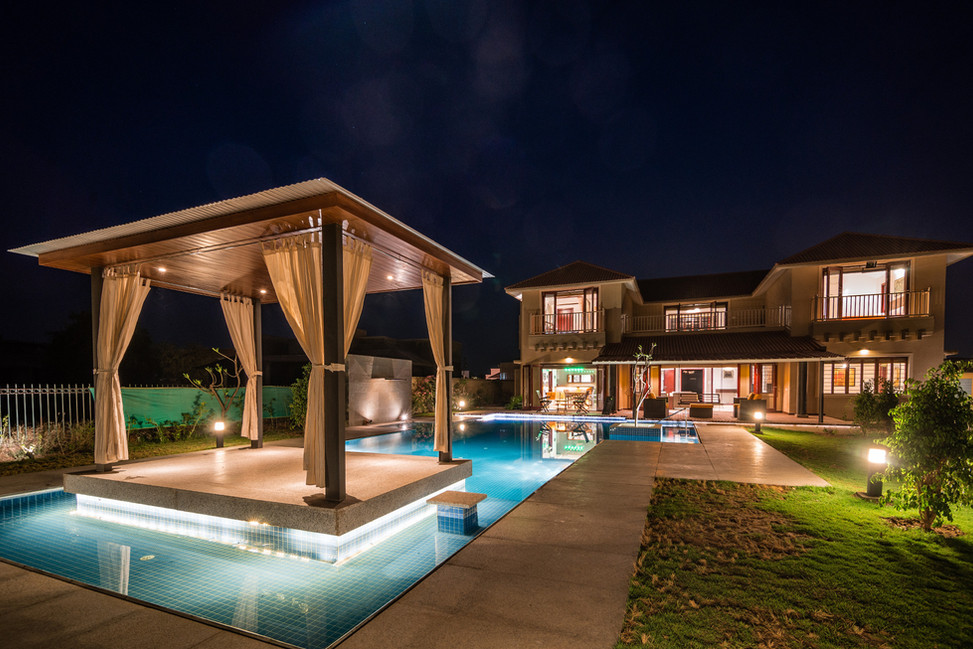 KBG Getaway_LD_Gazebo and pool by night.