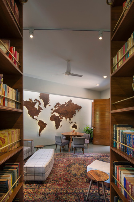 View of World Map through library doors.