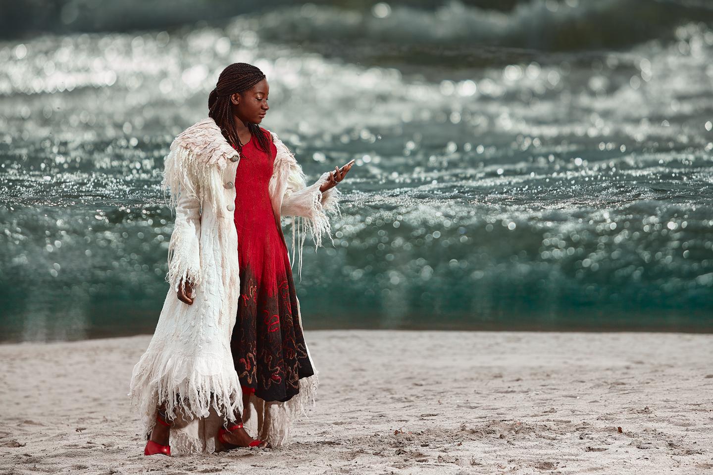 white coat.