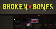 Broken Bones BBQ Monument, Colorado in the Monument Plaza on Hwy 105 Exterior channel letters with a Cabinet Logo box