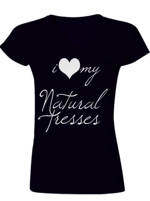 I love My Natural Tresses Vneck (Black)