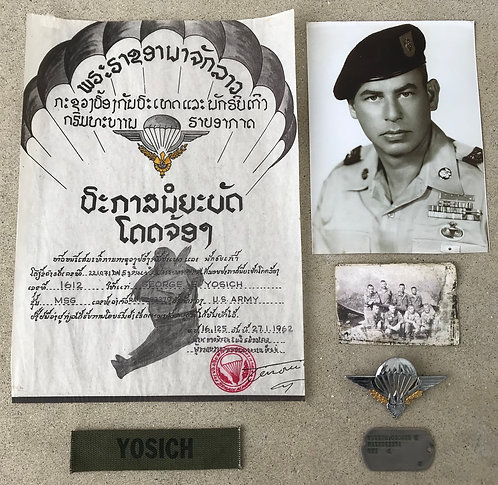 MSG George Yosich Laos Jump Wing Certificate Group